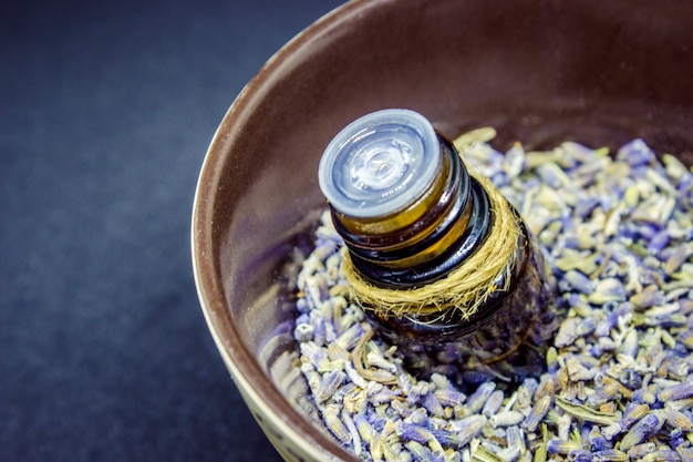 Essential oil of lavender. selective focus. nature bio flowers. Premium Photo