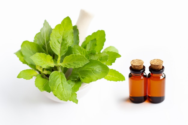 Essential oil with holy basil leaves in porcelain mortar on white Premium Photo