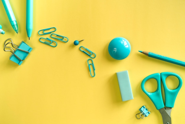 Essential turquoise stationery for work and study Free Photo