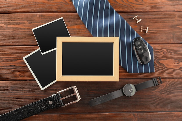 Essentials fashion man objects on wooden background Premium Photo