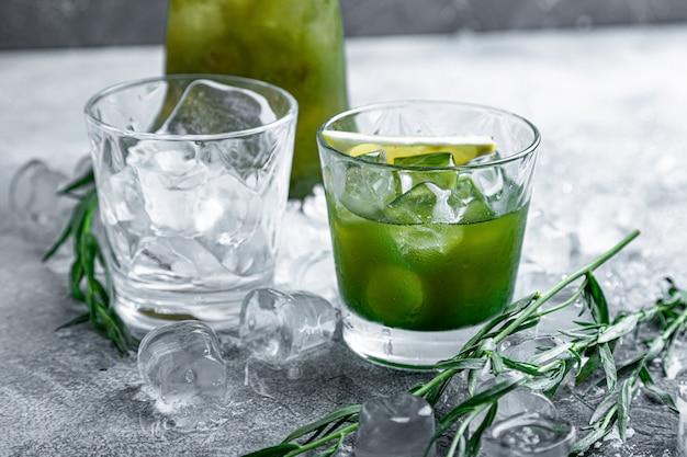 Estragon Lemonade. Refreshing Summer Drinks. Fresh Cool