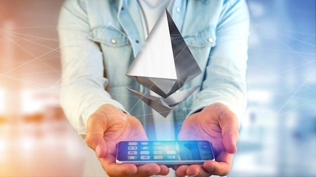 スマートフォンを使って飛ぶethereum暗号通貨記号の実業家 Premium写真