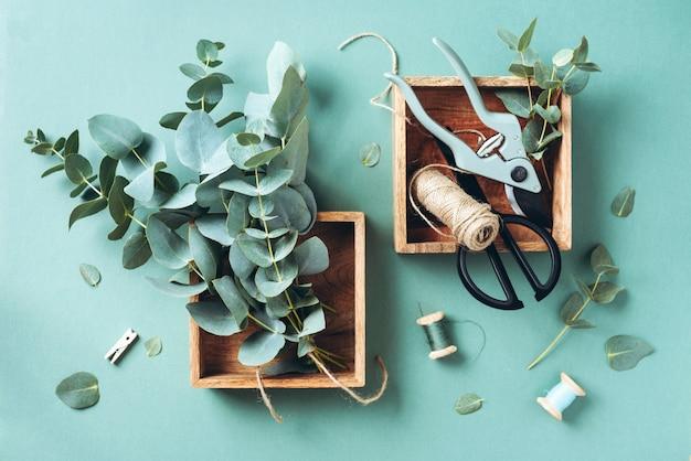 Eucalyptus branches and leaves, garden pruner, scissors, wooden boxes Premium Photo