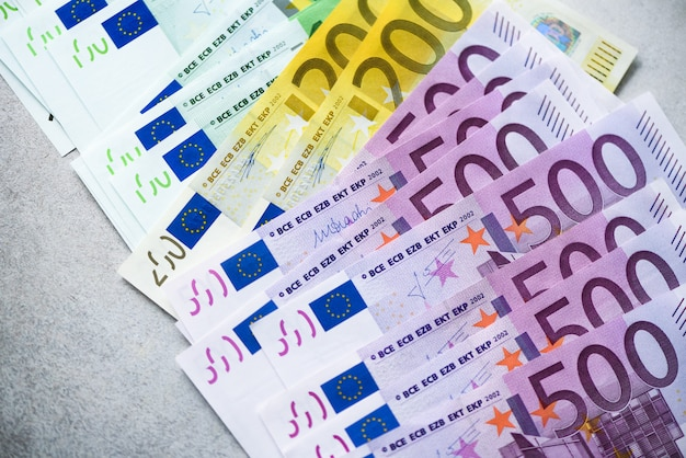 Euro currency money banknotes. payment and cash concept. announced cancellation of five hundred euro banknotes. Premium Photo