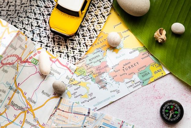 Europe and poland maps on desk Free Photo