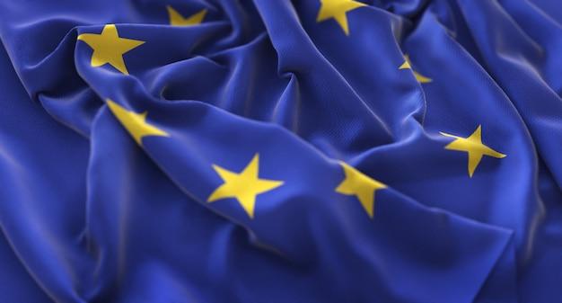 European flag ruffled beautifully waving macro close-up shot Free Photo