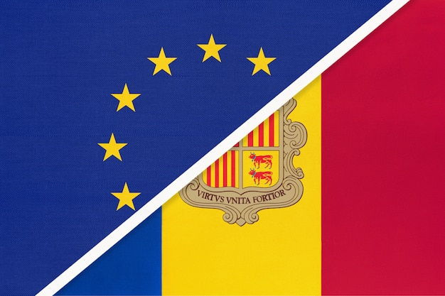 Европейский союз или ес против национального флага княжества андорра из текстиля. Premium Фотографии