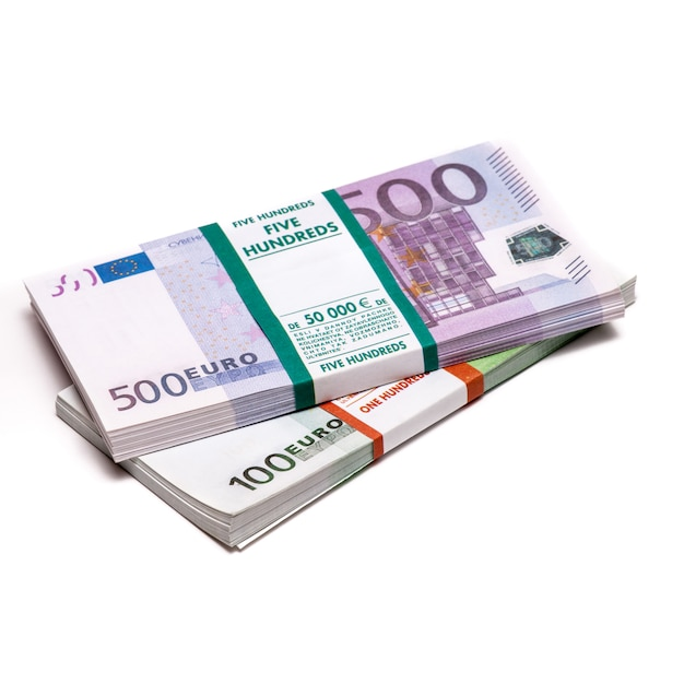 Euros money stack isolated Premium Photo
