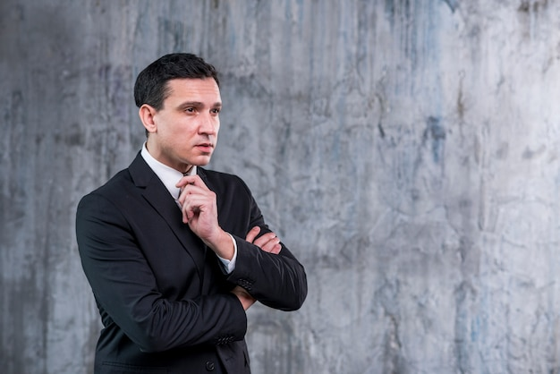 Evaluating businessman with arms crossed looking away Free Photo