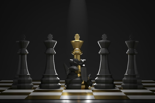 Evolution of golden king chess piece on dark wall with success or victory concept. development for better potential. 3d rendering. Premium Photo