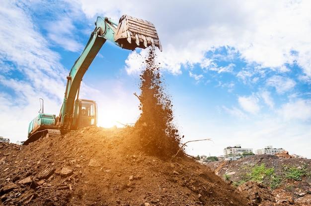 Excavator in action Free Photo