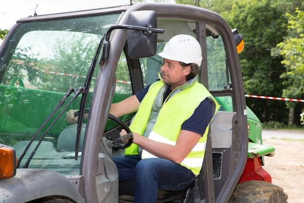 Premium Photo | Excavator driver man operator on construction site
