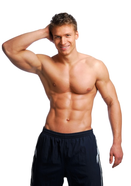 エクセレンス男性トレーニング体。白で隔離されます。 無料写真