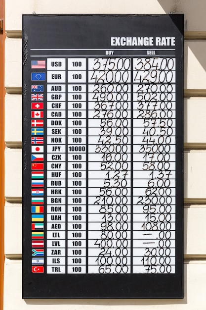 Exchange rate board with multiple currencies Premium Photo