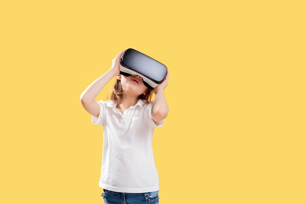 Excited girl being in virtual reality Premium Photo