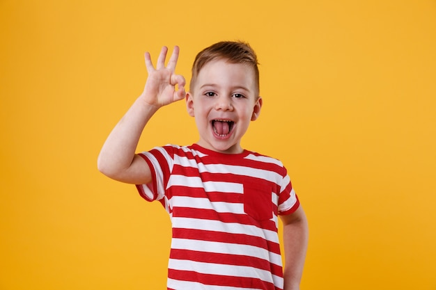 Excited little boy standing and showing okay gesture Free Photo