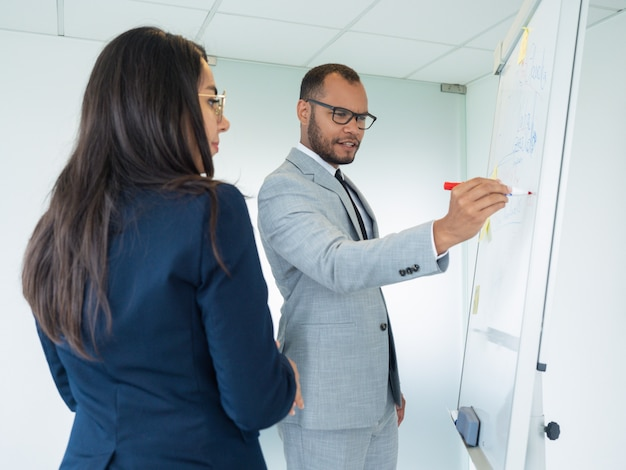Excited male professional presenting analytics Free Photo