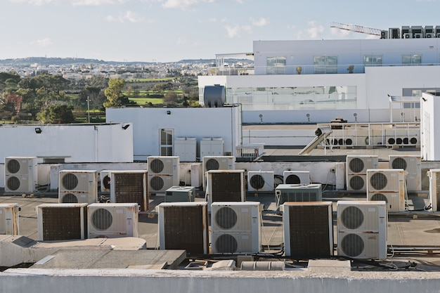 Exhaust vents of industrial air conditioning Premium Photo