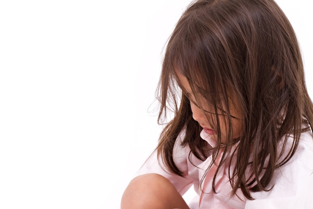 Exhausted, desperate, sad little girl Premium Photo