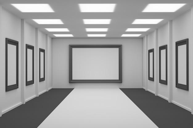 Выставочное пространство с пустыми рамками для картин Premium Фотографии