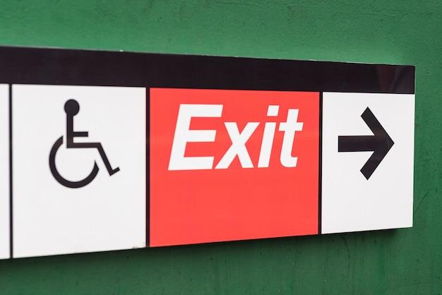Exit sign closeup Free Photo