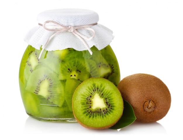 Exotic kiwi jam with ripe fruits and isolated on white Premium Photo