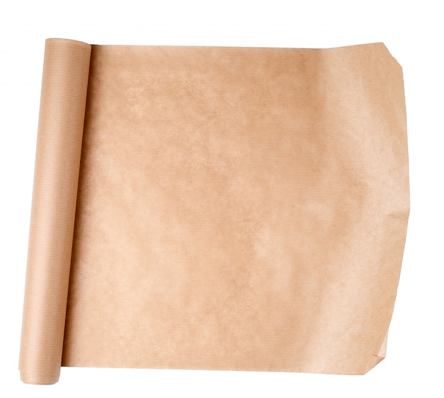 Expanded brown paper roll on a white Premium Photo