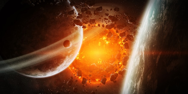 Exploding sun in space close to planet Premium Photo