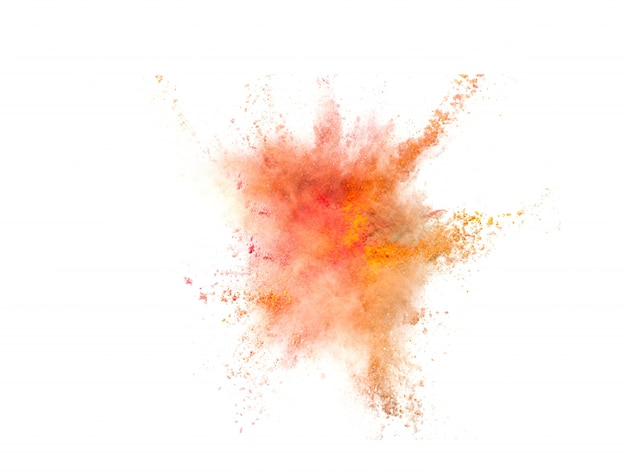 Explosion of colored powder on white background Free Photo