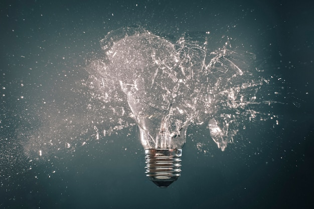 Explosion of light bulb Premium Photo
