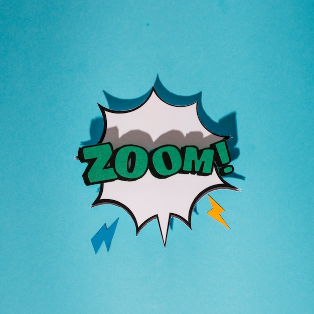 Explosion sound effect with zoom text speech bubble against blue