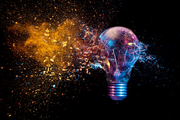 Explosion of a traditional electric bulb. shot taken in high speed Premium Photo