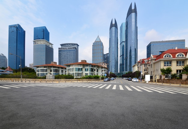The expressway and the modern city skyline,qingdao,china Premium Photo