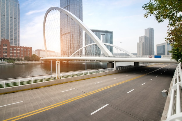 Expressway and modern urban architecture in tianjin, china Premium Photo