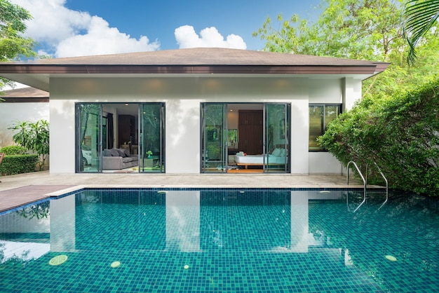 Premium Photo Exterior Design Of House Home And Villa Feature Swimming Pool Garden Terrace And Decking