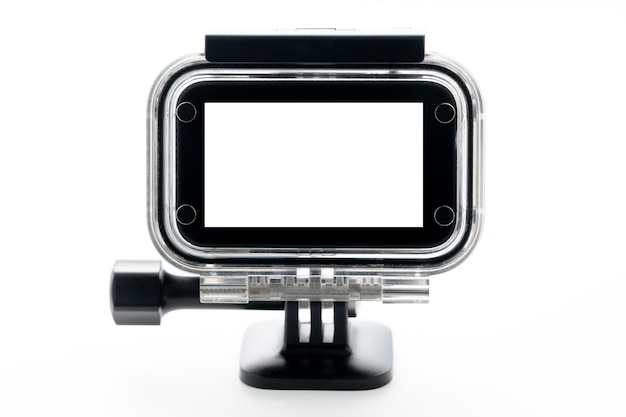 Extreme action camera at waterproof aqua-box isolated on a white background. Premium Photo