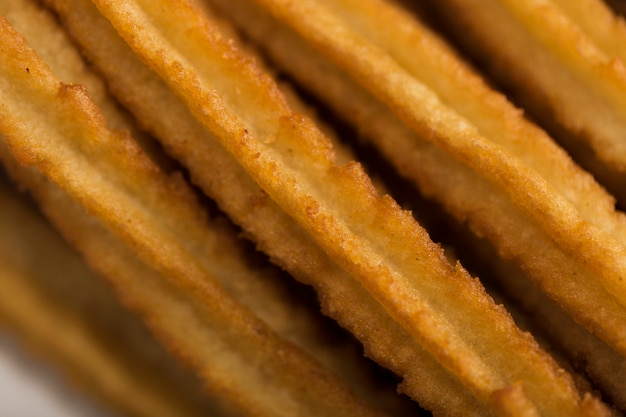 Extreme close-up churros high view Free Photo
