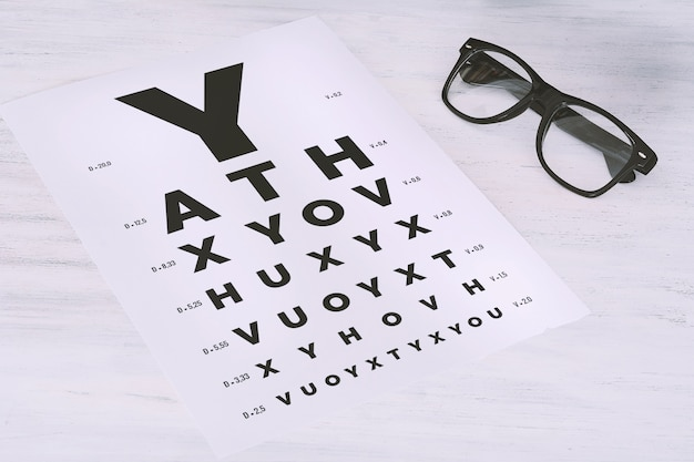 Eye glasses on eyesight test chart Photo | Premium Download
