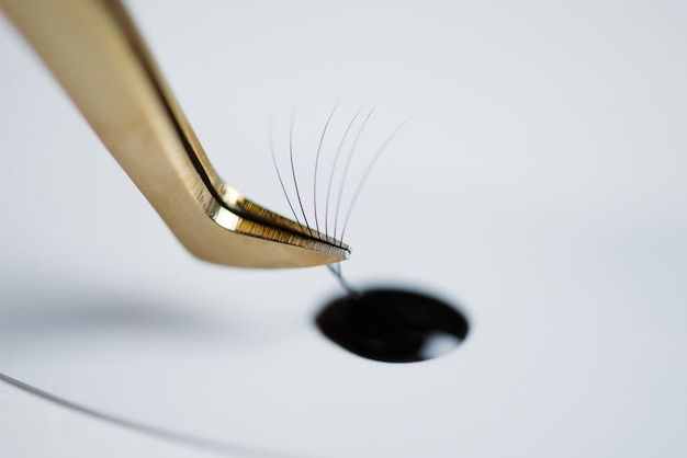 Eyelash extensions in the beauty salon. the concept of body care and beauty. Premium Photo