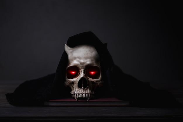 Eyes lightning in motion in a skull Premium Photo