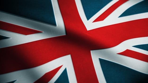 Предпосылка флага великобритании ткани ткани. текстурированный национальный флаг соединенного королевства. флаг великобритании. 3d-рендеринг. Premium Фотографии