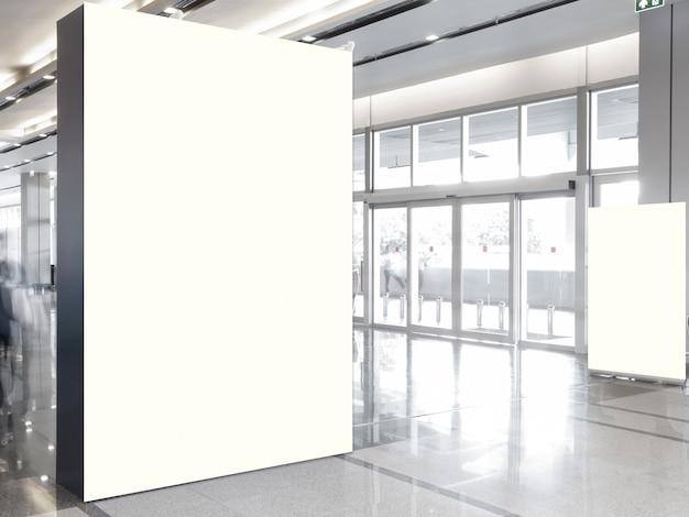Fabric pop up basic unit advertising banner media display backdrop, empty background Premium Photo