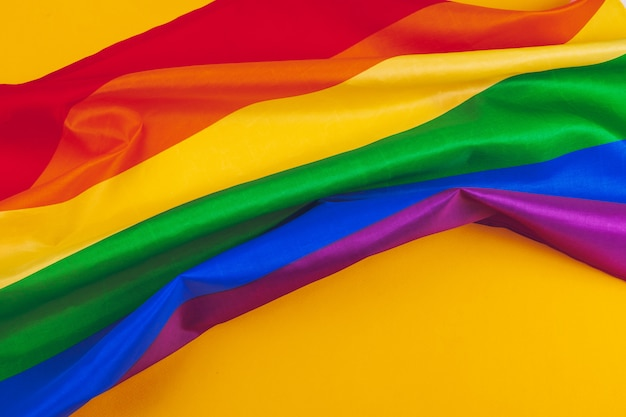 Fabric texture of gay rainbow flag close up Premium Photo