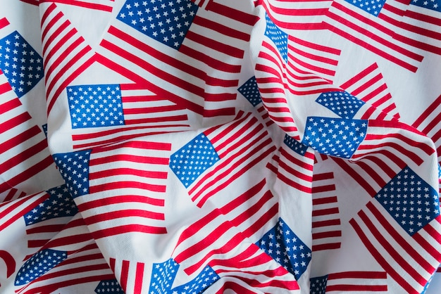 Fabric with printed american flags Free Photo