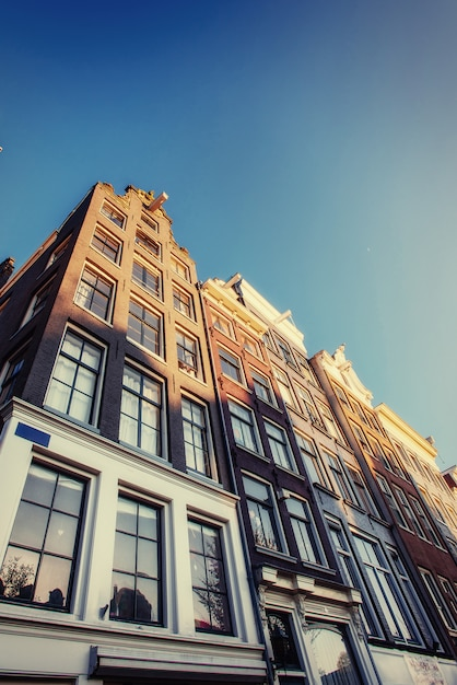 Facade of a building with windows. charming town in germany . Premium Photo