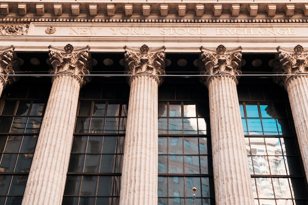 Facade of old building with columns of new york stock exchange Free Photo