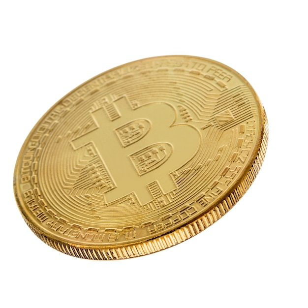 Face of the crypto currency golden bitcoin Premium Photo