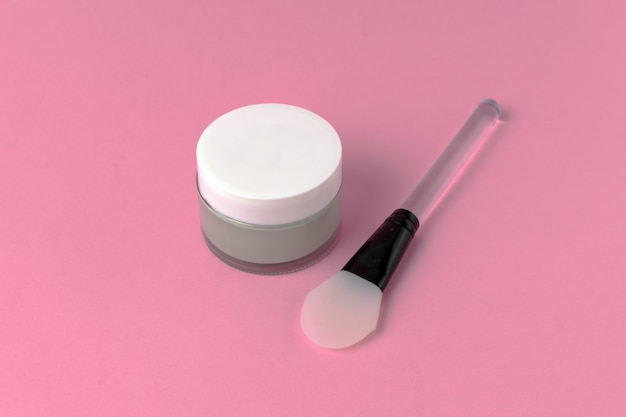 Face mask with silicone spatula top view Premium Photo