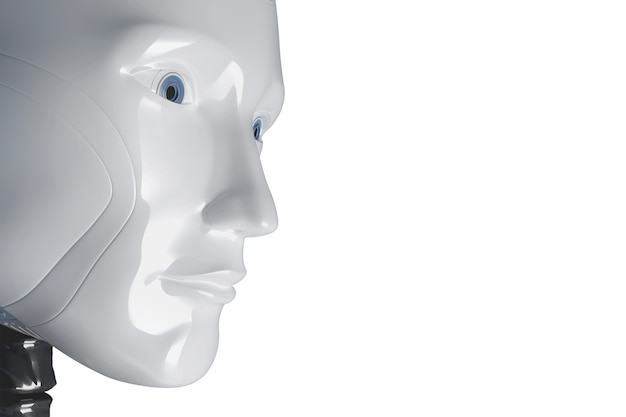 The face of a white robot. 3d illustration Premium Photo