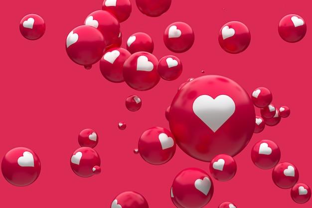 Facebook反応絵文字3 dレンダリングプレミアム写真、ソーシャルメディアバルーンシンボルの心、幸せなバレンタインの日カード Premium写真